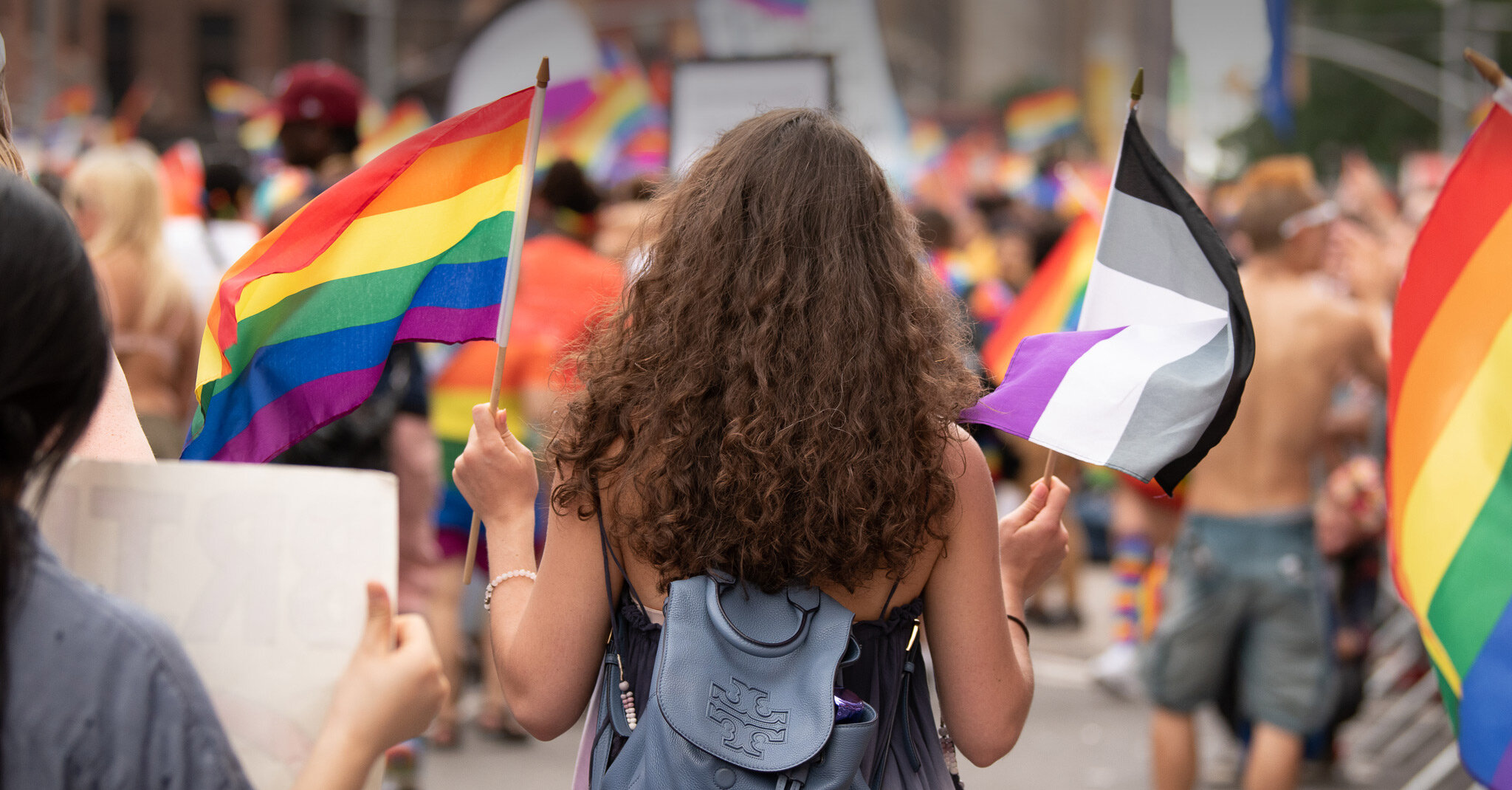 A person with long curly brown hair holds a rainbow flag in their left hand and an ace flag in their right hand in a pride parade.