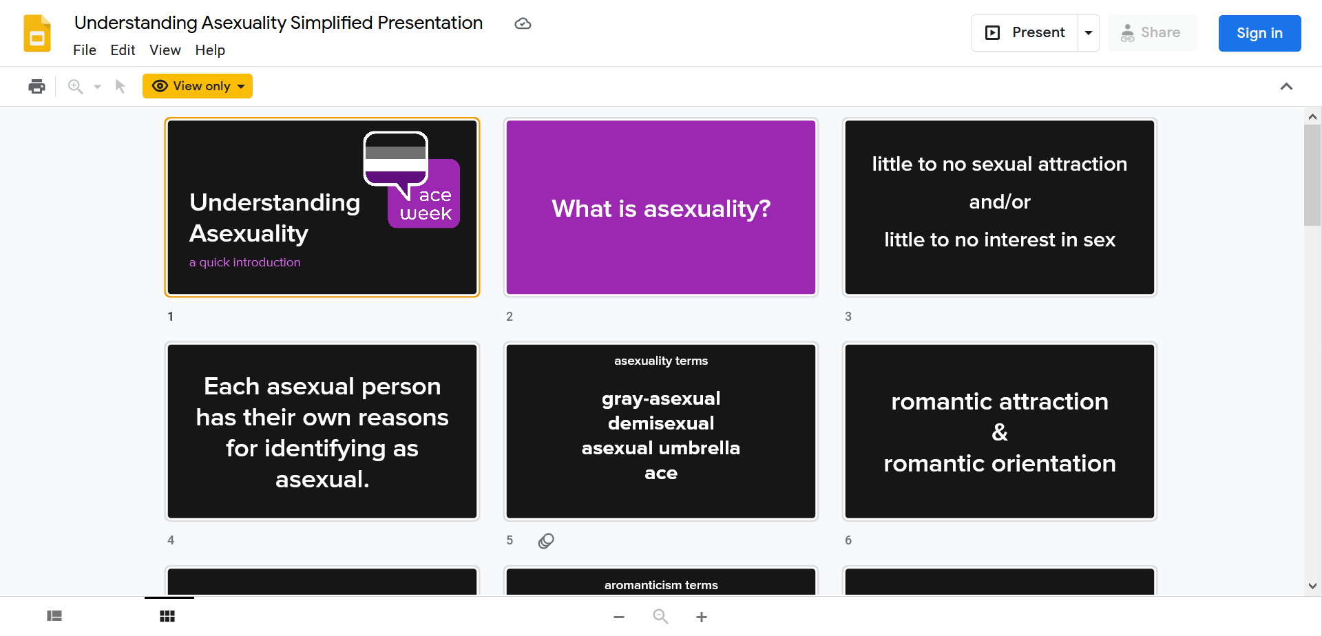 A screenshot of a Google slides presentation on