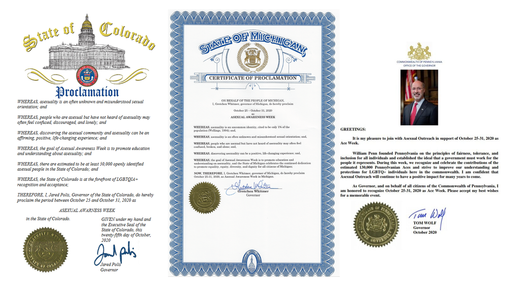 The State of Colorado's Proclamation from 2020 that the final week in October is Asexual Awareness Week.
